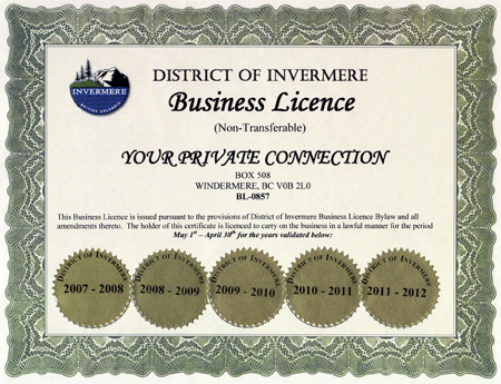 Business License from 2007 - 2012